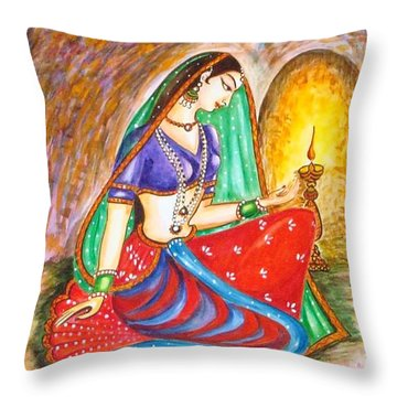 Throw Pillow featuring the painting Waiting  by Harsh Malik
