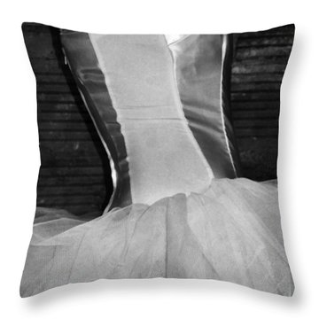 Waiting Her Turn Bw Throw Pillow