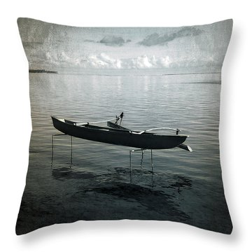 Throw Pillow featuring the photograph Waiting In Blue by Lucinda Walter