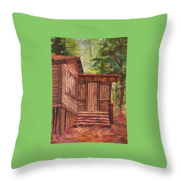 Throw Pillow featuring the painting Waiting by Joy Nichols