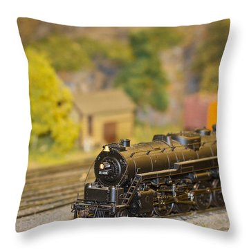 Waiting Model Train  Throw Pillow