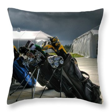Waiting Out The Rain - Chambers Bay Golf Course Throw Pillow