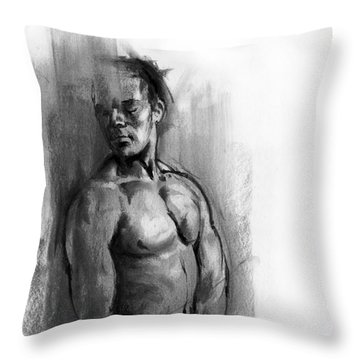 Throw Pillow featuring the drawing Waiting by Paul Davenport