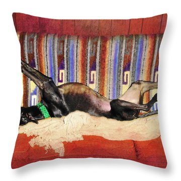 Wake Me When The Coffee's Ready Throw Pillow by Ginny Schmidt