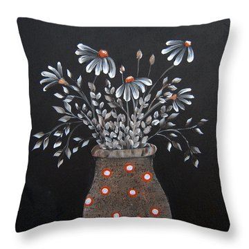 Wake Up And See The Flowers Throw Pillow by Suzanne Theis