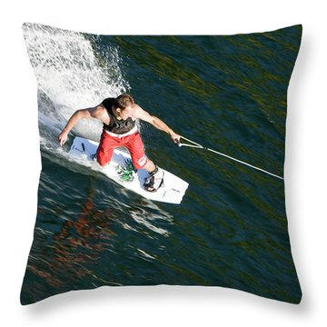 Wakeboard On Mara Lake, Bc Throw Pillow