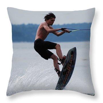 Wakeboarder Throw Pillow by DejaVu Designs