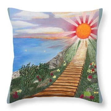 Throw Pillow featuring the painting Waking Up Love by Cheryl Bailey