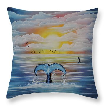 Throw Pillow featuring the painting Wale Tales by Dianna Lewis