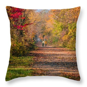 Waling Into Fall Throw Pillow