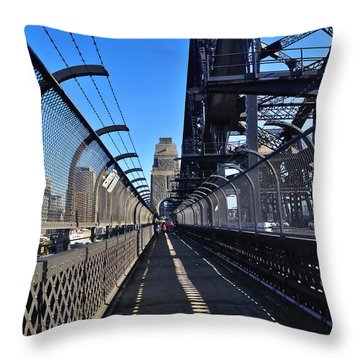 Walk Across Sydney Harbour Bridge Throw Pillow by Kaye Menner