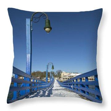 Walk In The Blue Light Throw Pillow