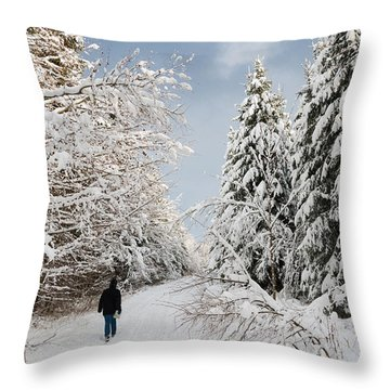 Walk In The Winterly Forest With Lots Of Snow Throw Pillow by Matthias Hauser