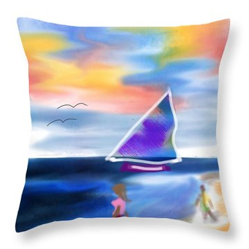 Walk On The Beach Throw Pillow by Frank Bright
