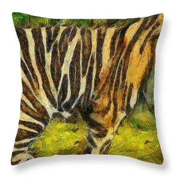 Walk The Tiger Throw Pillow by Georgi Dimitrov