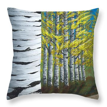 Walk Through Aspens Triptych 1 Throw Pillow by Rebecca Parker