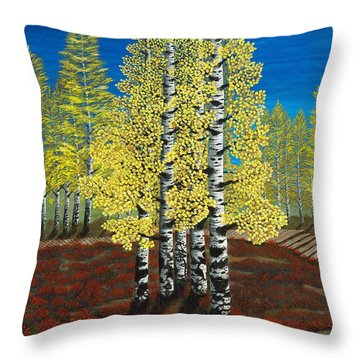 Walk Through Aspens Triptych 2 Throw Pillow by Rebecca Parker