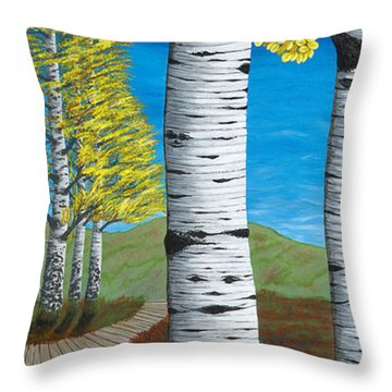 Walk Through Aspens Triptych 3 Throw Pillow by Rebecca Parker