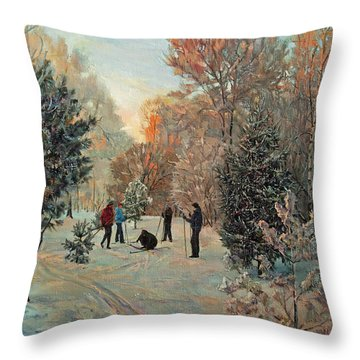 Walk To Skiing In The Winter Park Throw Pillow