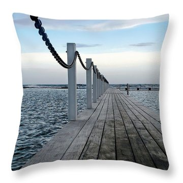 Walk To The Ocean Throw Pillow by Kaye Menner