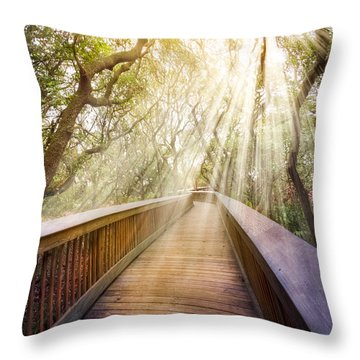 Walk With Me Throw Pillow by Debra and Dave Vanderlaan