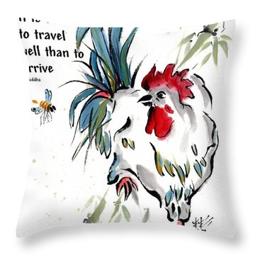 Throw Pillow featuring the painting Walkabout With Buddha Quote I by Bill Searle