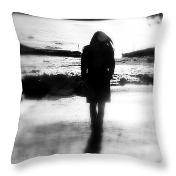 Walking Alone Throw Pillow by Valentino Visentini