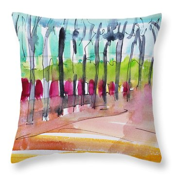 Throw Pillow featuring the painting Walking Along The Street by Becky Kim