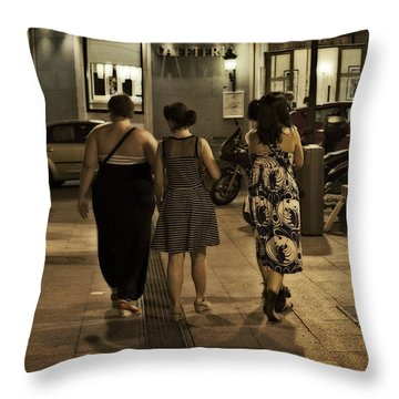 Walking At Night - Madrid Spain Throw Pillow by Mary Machare