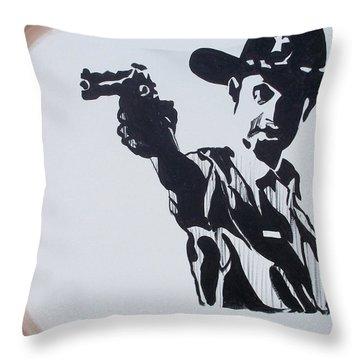 Walking Dead Rick Shoots Throw Pillow by Marisela Mungia