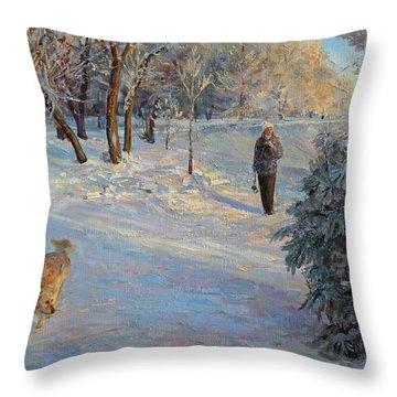 Walking In A Winter Park Throw Pillow