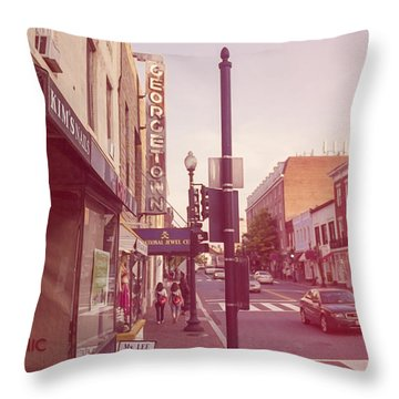 Walking In Georgetown Throw Pillow
