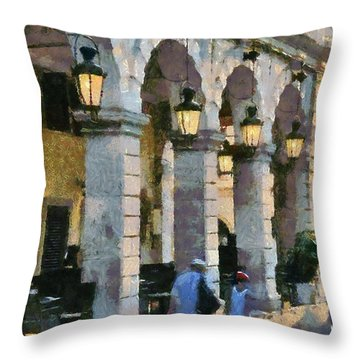 Spianada Square In Corfu City Throw Pillow
