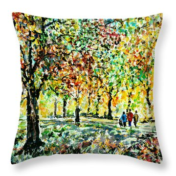Walking In The Park Throw Pillow