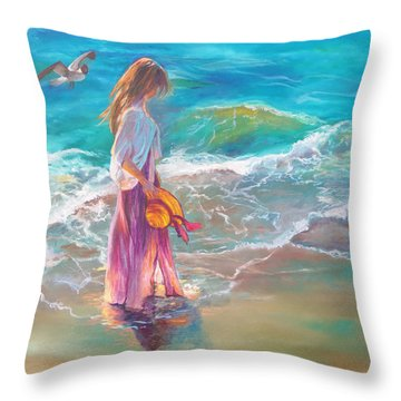 Throw Pillow featuring the painting Walking In The Waves by Karen Kennedy Chatham