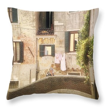 Walking In Venice Throw Pillow