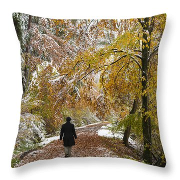 Walking Into Winter - Beautiful Autumnal Trees And The First Snow Of The Year Throw Pillow by Matthias Hauser