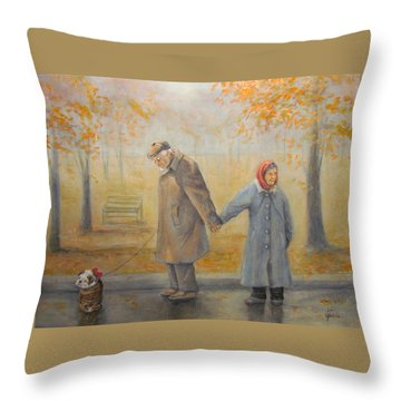 Walking Miss Daisy Throw Pillow by Donna Tucker