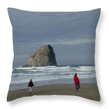 Throw Pillow featuring the photograph Walking On The Beach by Susan Garren