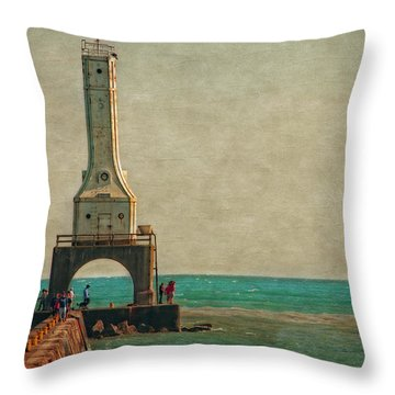 Walking On The Breakwater Throw Pillow by Mary Machare