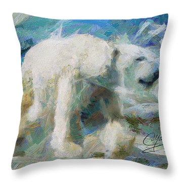 Throw Pillow featuring the painting Cold As Ice by Greg Collins