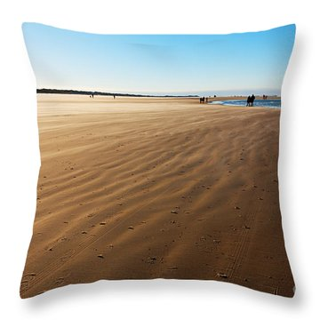 Walking On Windy Beach. Throw Pillow