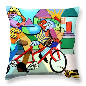 Walking The Dog Throw Pillow by Anthony Falbo