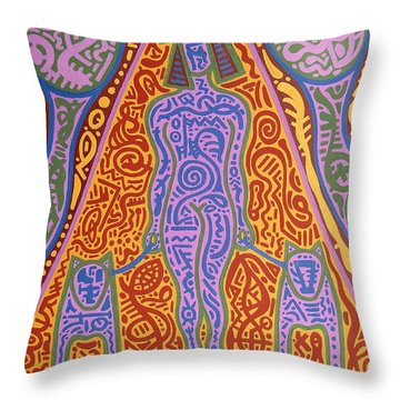 Walking The Dogs Throw Pillow by Patrick J Murphy