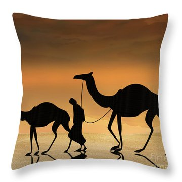Walking The Sahara Throw Pillow by Bedros Awak