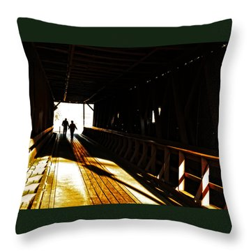 Throw Pillow featuring the photograph Walking Through History - Elizabethton Tennesse Covered Bridge by Denise Beverly