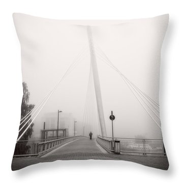 Walking Through The Mist Throw Pillow