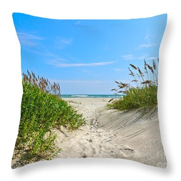 Walking Through The Sea Oats Throw Pillow by Eve Spring