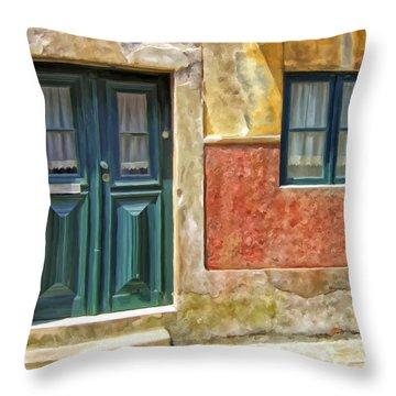 Walking Through Vila De Conde Throw Pillow by Michael Pickett
