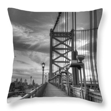 Walking To Philadelphia Throw Pillow